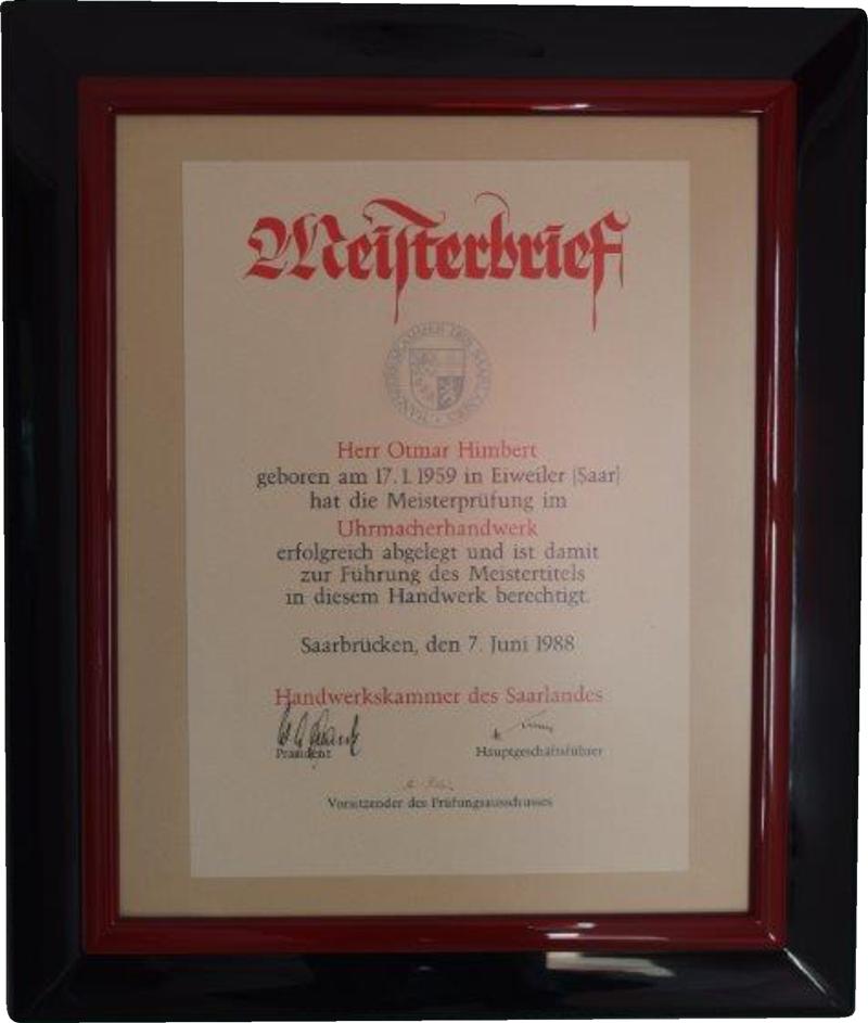 Werkstatt Himbert - Meisterbrief Otmar Himbert